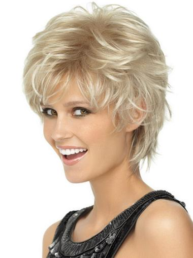 New Fashion Capless Blonde Wavy Synthetic Short Wigs