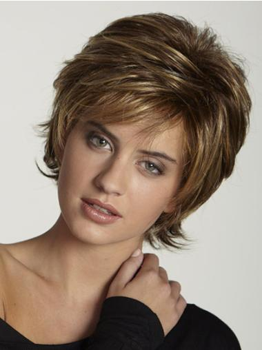 Trendy Capless Brown Straight Synthetic Short Wigs