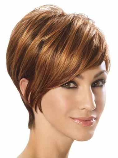 Designed Capless Brown Straight Synthetic Short Wigs