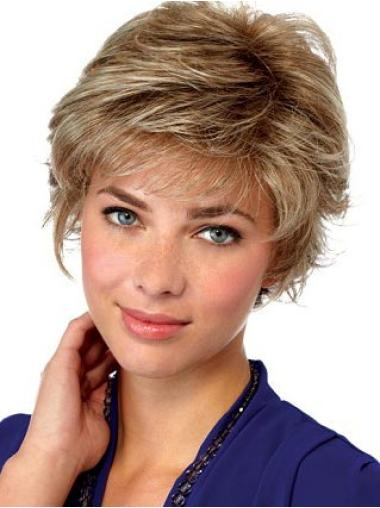 Quality Lace Front Blonde Straight Synthetic Short Wigs