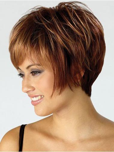 Soft Capless Auburn Straight Synthetic Short Wigs