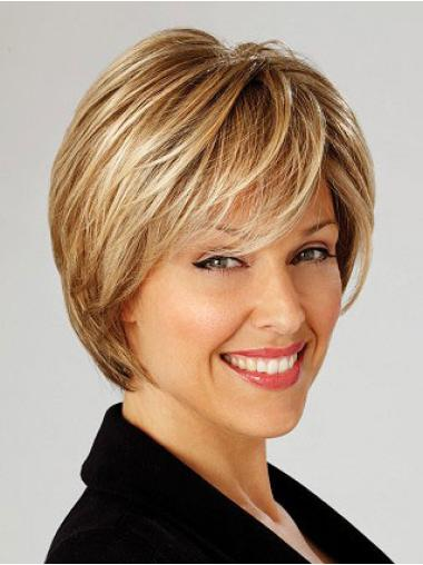 Beautiful Lace Front Blonde Straight Synthetic Short Wigs
