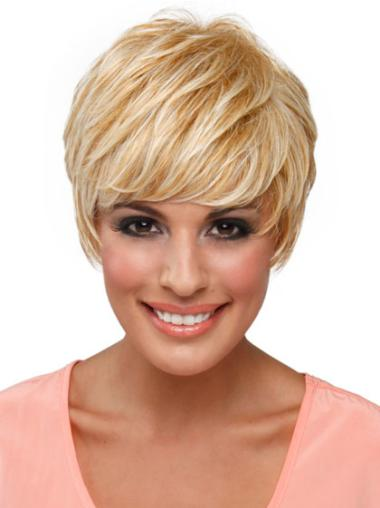 No-fuss Capless Blonde Straight Synthetic Short Wigs