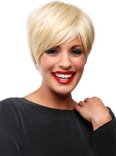 Fashion Lace Front Blonde Straight Synthetic Short Wigs