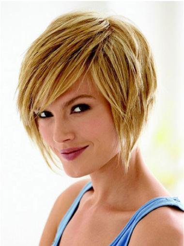 Ideal Capless Blonde Straight Synthetic Short Wigs