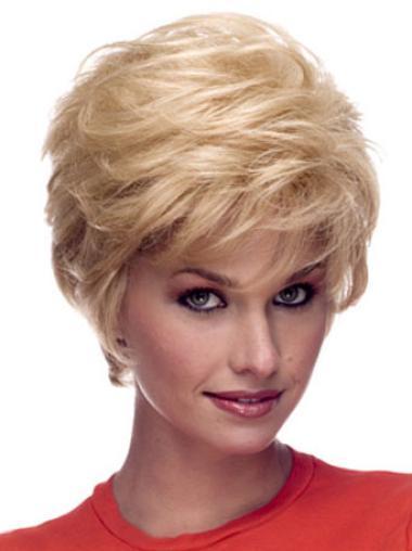 Cheap Capless Blonde Wavy Remy Human Hair Short Wigs