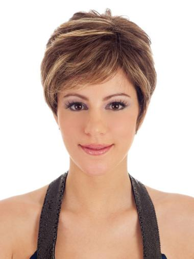 Hairstyles Capless Brown Straight Synthetic Short Wigs