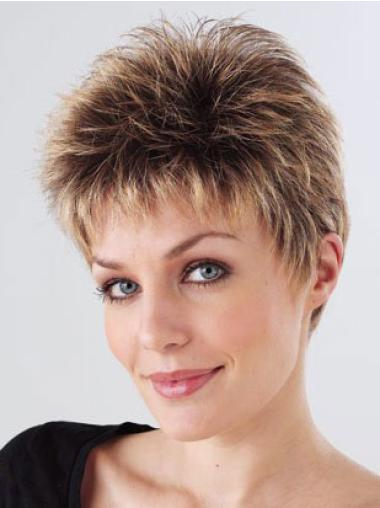 Brown Fabulous Monofilament Straight Synthetic Short Wigs