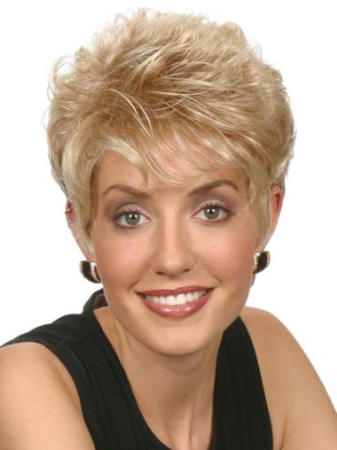 Blonde Affordable Capless Straight Synthetic Short Wigs
