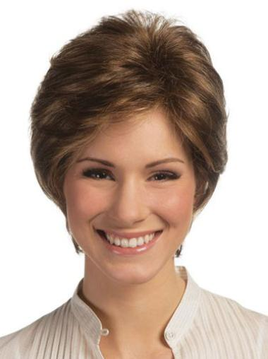 Brown Versatility Lace Front Straight Remy Human Hair Short Wigs
