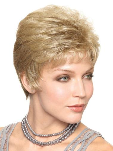 Blonde Beautiful Capless Straight Synthetic Short Wigs