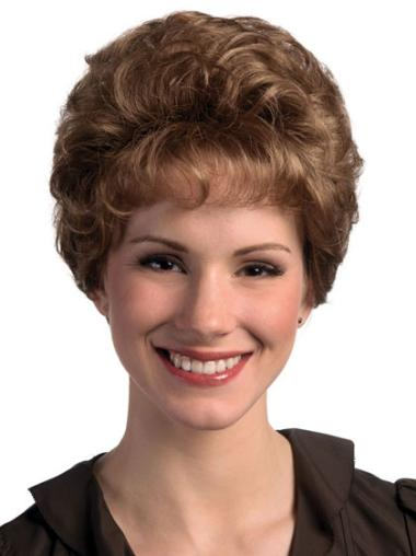 Brown Suitable Capless Curly Synthetic Short Wigs