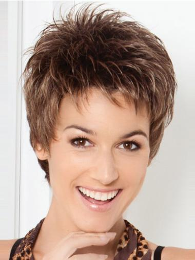 Brown Beautiful Lace Front Wavy Synthetic Short Wigs