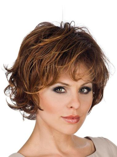 Brown High Quality Lace Front Wavy Synthetic Short Wigs