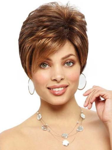 Brown Modern Monofilament Straight Synthetic Short Wigs