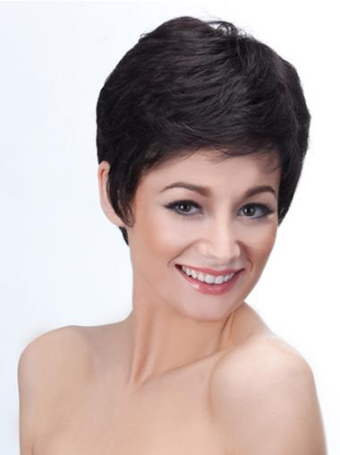 Black New Fashion Capless Straight Synthetic Short Wigs