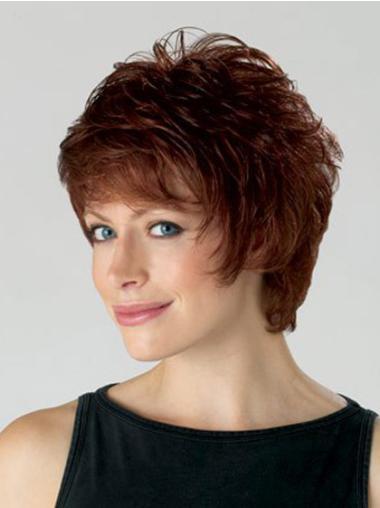 Auburn Sassy Capless Wavy Synthetic Short Wigs