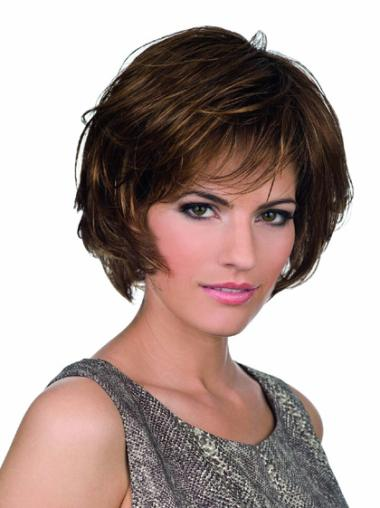 Brown Designed Lace Front Wavy Synthetic Short Wigs