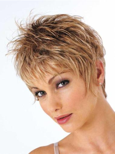 Wavy Synthetic Short Capless Brown Designed Wigs