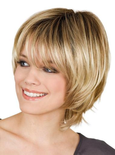 Straight Synthetic Short Capless Blonde Suitable Wigs