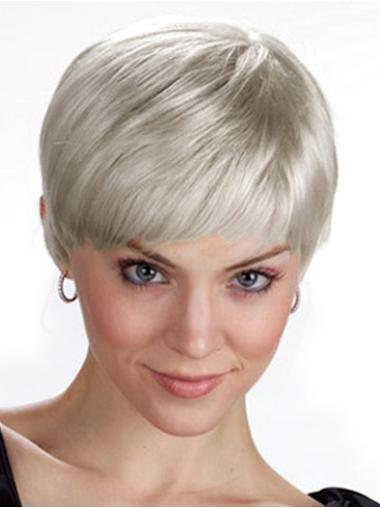 Straight Synthetic Short Capless Grey Designed Wigs