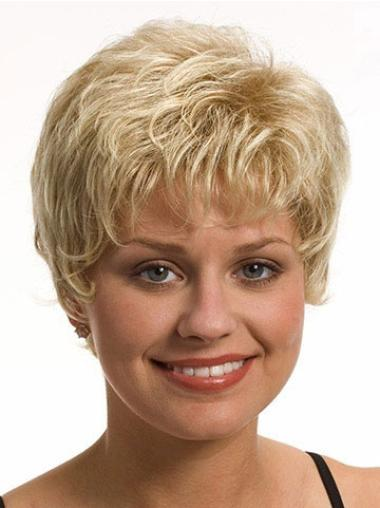 Wavy Synthetic Short Capless Blonde Soft Wigs