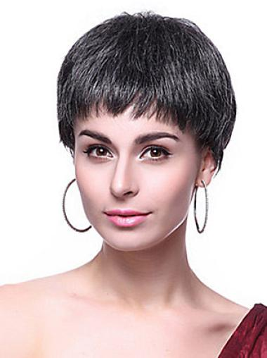 Straight Synthetic Short Capless Black Durable Wigs