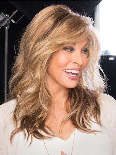 With Bangs Brown Monofilament Long Wavy High Quality Wigs